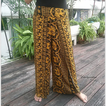 Yellow Palazzo Pants Elephant Print Baggy Boho Hippie Gypsy Exotic Tribal Clothing Beach Casual Tank Trousers Dress Wild Legs Hobo From Thai