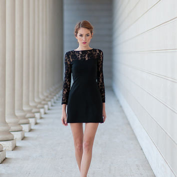 Margot Dress - Sweetheart Long Sleeve Black Lace Shift Dress - Enjoy 30% off Use Code: HOLIDAY30 thru 12/15/13