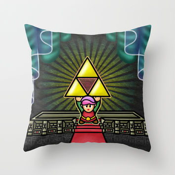 Triforce Wish Throw Pillow by Likelikes