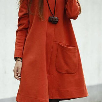 Jacinth Long Sleeve Pocketed Asymmetric Loose Dress