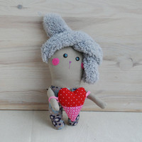 Handmade Bunny Doll,Valentines Gift for Her,Valentine's Day Gift,Soft Bunny,Handmade Animal Toys, Bunny with Plush Ears,Rabbit Rag  Doll