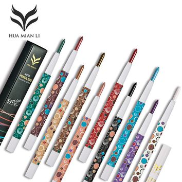 HUAMIANLI Brand 10 Color Shimmer Matte Eye Shadow Pen Pigment Nude Smoked Glitter Eyeshadow Pencil Shine Eye Liner Pen Makeup