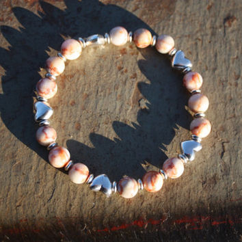 Redline Marble Stretch Bracelet with Silver Hearts for Balance, Calm, Increased Optimism, Inner Strength, and Self-discipline