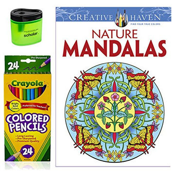 Crayola Colored Pencils (24), Prismacolor Pencil Sharpener, and Adult Coloring Book, Bundle of 3 Items (Nature Mandalas)