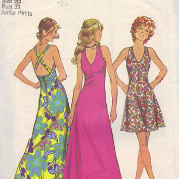 Simplicity 70s Retro Sewing Pattern 5037 Halter Dress Sundress Sexy Disco American Hustle Style Open Back Bust 33