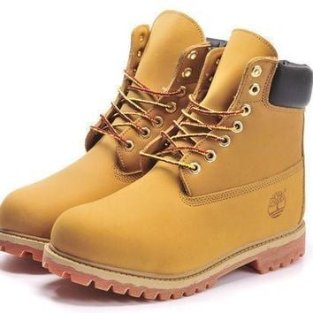 Timberland Rhubarb boots for men and women shoes waterproof Martin boots lovers Yellow