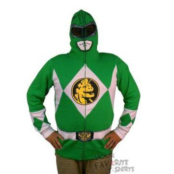 Power Rangers I Am Green Ranger Costume Zip Up Hoodie