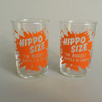 HIPPO SIZE Soda Water Promotional cup, vintage small glass, small promotional glass, promotional soda glass, vintage advertising,small glass