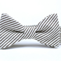Boy's Bow Tie - Grey Seersucker - Adjustable Velcro Closure