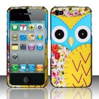 Apple iPhone 4 and 4S Protector Case Rubberized Design Cover Owl 2 for AT