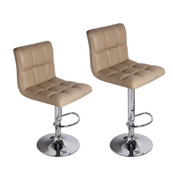 Adeco Beige Leatherette Faux Tufted Adjustable Barstool Chair Chrome Finish Pedestal Base (Set of two)