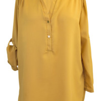 V-Neck Chiffon Blouse with Convertible Sleeves