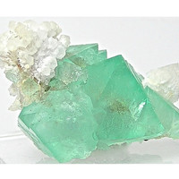 Bright Mint Green Fluorite Crystal Cluster with Quartz Blossoms from South Africa