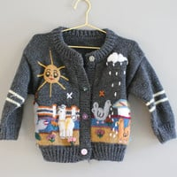 Free Shipping Hand Knitted Baby Peruvian Cardigan Embroidered Scene Baby Sweater Button Up Sweater Baby Infant Toddler Size 12 to 24 months