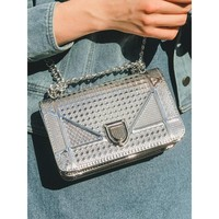 Bling Metallic Square Chain Bag