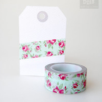 WASHI TAPE, flower pattern on cyan background