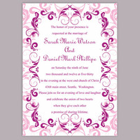 Wedding Invitation Template Download Printable Wedding Invitation Editable Pink Invitations Elegant Invitation Purple Wedding Invitation DIY