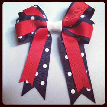 Red, White & Navy Blue Polka Dot Bow