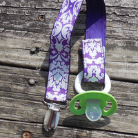 Ribbon Pacifier Holder, Purple White Damask Pacifier Holder, Binky Clip, Pacifier Clip or Toy Clip
