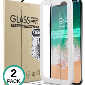 Bovon iPhone X Screen Protector, (2 Packs) [9H Hardness] [Ultra Clear] [Case-Friendly][Scratch Proof] [Bubble-Free] Tempered Glass Screen Protector Film for Apple iPhone X / iPhone 10 [2017]