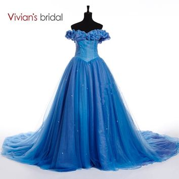 Cinderella Paragraph Wedding Dress Butterfly Appliques Ball Gown Bridal Dress With Chapel Train