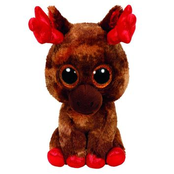 "Pyoopeo Ty Beanie Boos 6"" 15cm Maple Moose Canada Plush Regular Stuffed Animal Collectible Big Eyes Doll Toy"