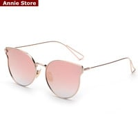 Pink mirror sunglasses new arrival 2016 women metal frame cat eye sun glasses for women brand high quality UV400 lentes de sol