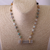 MOODPC Free Shipping Amazonite Stones Bohemian Tribal Jewelry Rosary Chain With Rectangle Druzy Pendant Choker Short Necklace-in Choker Necklaces from Jewelry & Accessories on Aliexpress.com | Alibaba Group