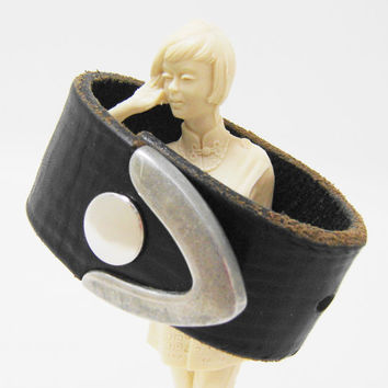 Black Leather Cuff Bracelet - Belt Bracelet Cuff Snap Wristband - Ladies Size Small