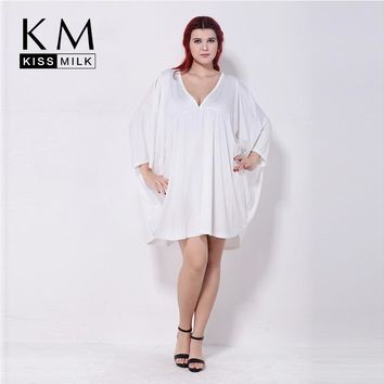 Kissmilk Plus Size Summer  Fashion Women 3/4 Quarter Sleeve V-Neck Big Size Loose Solid Casual Cape Top T-shirt 3XL 4XL 5XL 6XL