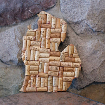 Michigan art | wine cork art | home decor