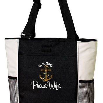 Proud US Navy Wife Wife Custom Embroidered Tote Bag Military Pride Troop Support