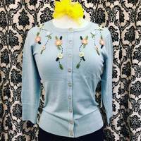 Pin Up Sweater in Sky Blue with Floral Embroidery.