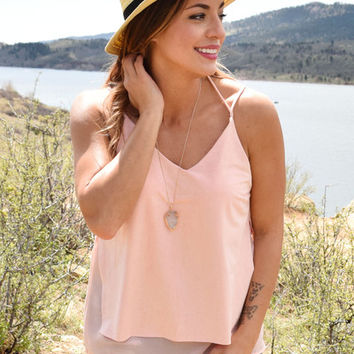 Highlands Faux Suede Tank Rose