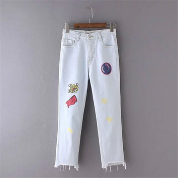 Summer Women's Fashion Korean Casual Print Embroidery Jeans [4919996676]