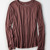 AEO Soft & Sexy Long-Sleeve Favorite T-Shirt, Burgundy