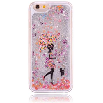 Unique shining sand girl&cat Phone Case Cover for Apple iPhone 7 7 Plus 5S 5 SE 6 6S 6 Plus 6S Plus + Nice gift box! LJ160927-005