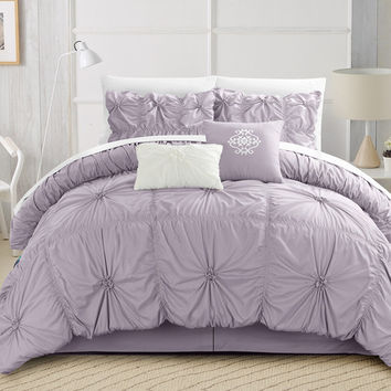 6PC Hannah Lavender Ruche Waterfall Pleat Comforter SET