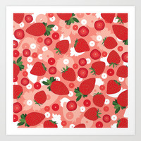 Strawberry Art Print by Ornaart