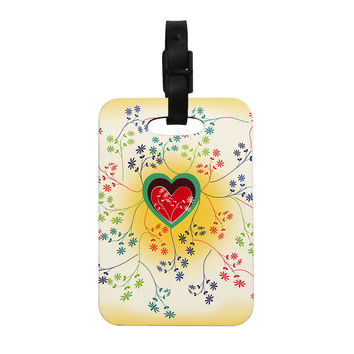 "Famenxt ""Romantic"" Yellow Heart Decorative Luggage Tag"