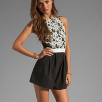 Finders Keepers Fools Gold Playsuit in Black & White Print/Black