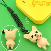 Pet Lovers Petite Dog Cell Phone Strap (French Bull Dog White)