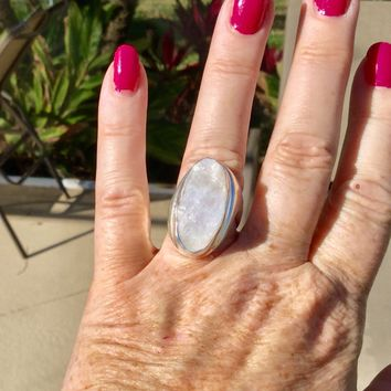 Modern rough Rainbow Moonstone silver ring size 8