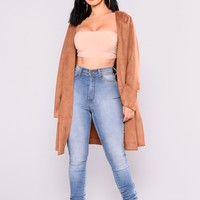 Lucca Collarless Suede Jacket - Camel