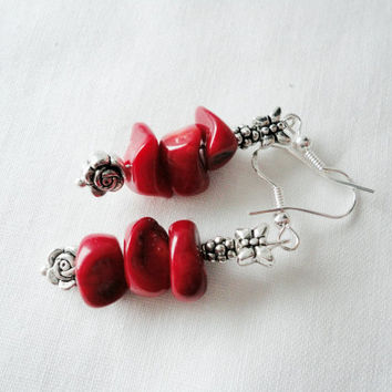 Red bamboo coral earrings, silver plated, Beaded Earrings, Bohemian jewelry