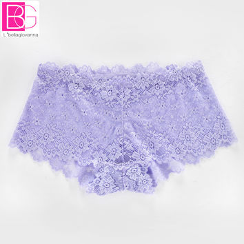 Embroidery Floral Women Panties Seamless Transparent Sexy Lace Calcinha Women's Briefs Panty Underwear Princess Boyshorts 818