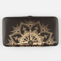 Gold Medallion Hinged Wallet Black One Size For Women 26644310001