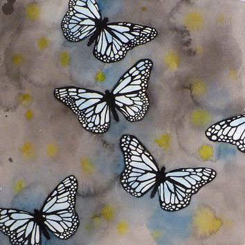 Butterfly Art Watercolor Print Blue Monarch by LaBerge
