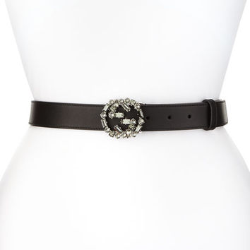 Gucci Crystal Interlocking G-Buckle Belt, Black