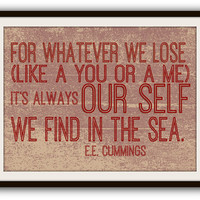 E.E. Cummings Beach Poetry Typography Poster